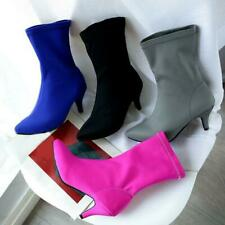 Ladies Pointed Toe Party Shoe elastic Heel Pull On Mid Calf Boots plus size