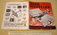 1940 Vintage Homefront AeroModeller Mag V5 #51. Messerschmitt Me109 Cover Art