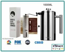 Portable Grinder Corn Coffee Manual Hand Grains+French Press Coffee Maker Set