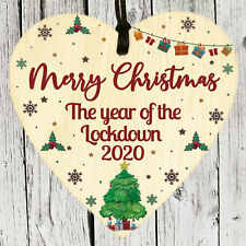 Christmas Tree Decoration Lockdown 2020 Wooden Heart Sign Plaque Family Gifts