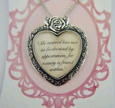 """Beauty and the Beast quote necklace """"she warned him not to be deceived by appear"""