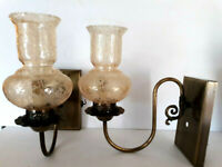 Pair MCM Vtg Wall Sconces Electric Lights Lamp Hurricane Globe Shade Amber