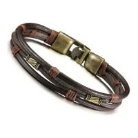 Herrenarmband aus Leder Tribal Braid ueberschrift Handkette Armband Lederba G7N7