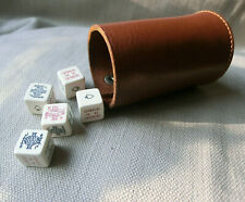 More details for rare vintage leather dice shaker collapsible folding + poker dice