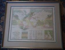 RARE ORIGINAL ANTIQUE 1854 A.K. JOHNSTON LARGE FRAMED FOLIO PHYSICAL ATLAS MAP