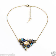 Vintage Multi-Color Rhinestone Necklace Silver Plated Crystal Pendant Jewelry