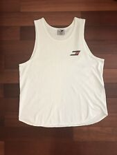 Vintage Tommy Hilfiger Flag Logo Tank Top Tee Shirt Size Men Medium M Vtg White