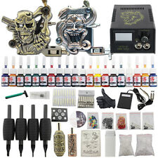 Professional Complete Tattoo Kit 2 Top Machine Gun 20 Ink 50 Needle Power Supply