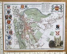 "Old Antique colour map of Cambridge, England: early 1800's: 12"" x 9"" Moule"