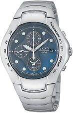 Seiko SNA065 Stainless Steel Alarm Chronograph Blue Dial Watch