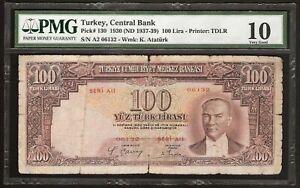 TURKEY Turkiye  Cumhuriyet  Merkez  Bankasi  10 LIRASI (1937) P:130 VG