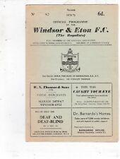 WINDSOR & ETON HOME PROGRAMMES 1970/71