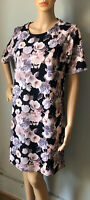 South Womens Floral Short Shift Dress U.K. Size 14 Black Pink Mix Exc Con