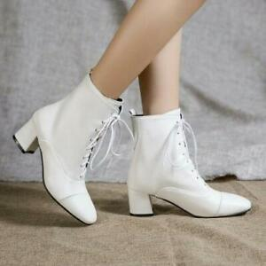 Women's Gothic Square Toe Lace Up Causal Ankle Boots Block Mid Heel  Shoes Party