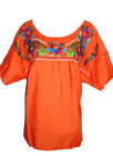 Peasant Vintage Style Tunic Hand Embroidered Mexican Blouse Top Assorted Colors