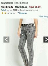 Glamorous ripped jean grey wash size 10 BNWT