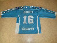 """Düsseldorfer EG Original vic Eishockey Trikot 91/92 """"EPSON"""" + Nr.16 Doucet Gr.M"""