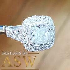 14k white gold cushion forever one moissanite and diamond engagement ring 2.70c