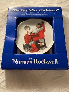 """""""The Day After Christmas"""" Normal Rockwell Plate Fine Porcelain Santa Sleeping"""