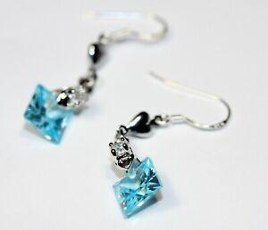 Princess 8mm Created Aquamarine Solitary Stone Dangle Earrings 925 Silver