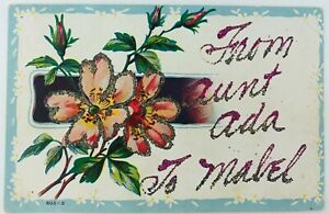 Vintage Postcard with Custom Glitter Greeting Flowers From Aunt Ada to Mabel