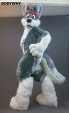 Fursuit Long Fur Husky Mascot Costume Cosplay Party Dress Outfit Carnival