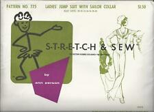 Stretch & Sew Sewing Pattern 775 Misses Jumpsuit with Sailor Collar B28 to B40
