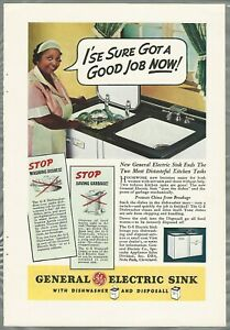 1937 GENERAL ELECTRIC advertisement, Black maid, old racist ad