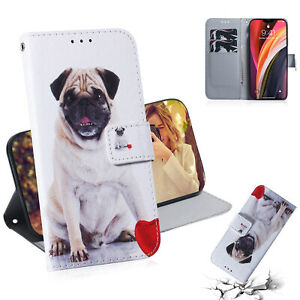 Cute Pug Dog Animal Hot Flip Antislip Wallet Case Back Cover For Various Phones