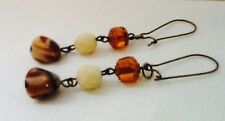 Vintage Art Deco Dangle Earrings Bronze Czech Glass Cathedral Beads Wire Linked
