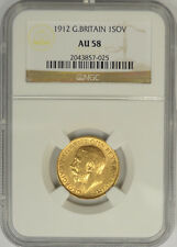 1912 Great Britain Gold Sovereign, NGC AU 58. King George V