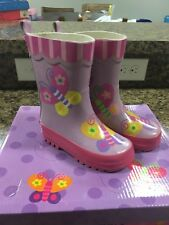 STEPHEN JOSEPH Purple and Pink Butterfly Rain Boots Size 6 NEW WITHOUT BOX