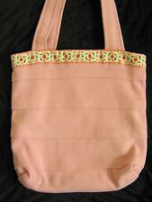 Hand crafted Quality Pink floral reversible Shoulder Shopping Tote Bag  laundry