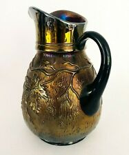 New ListingAntique Amethyst Iridescent Carnival Glass Pitcher by Dugan - Vineyard Pattern
