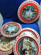 Disney holiday Christmas plates tin metal Disneyland 2007 collector Mickey