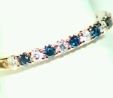 .45CT 14K Gold Natural Blue Diamond White Vintage Anniversary Engagement Band