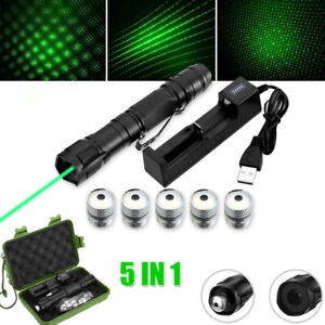 50Miles Green Laser Pointer Pen Rechargable Lazer Visible Beam Torches Charger