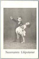 MIDGETS DANCING NEUMANN'S LILIPUTANER GERMAN ANTIQUE POSTCARD