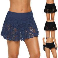 Women's Lace Crochet Skirted Bikini Bottom Swimsuit Short Skort MIni Swim Skirt