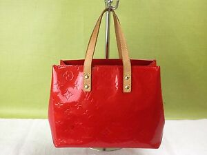 Authentic Louis Vuitton Vernis Reade PM Red Hand bag LV 5D080200""