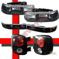 99-02 Chevy Silverado Stepside Black Headlights + Bumper Lights + Tail Lamps