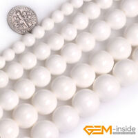 """Natural White Shell Gemstone Round Loose Spacer Beads For Jewelry Making 15"""" YB"""