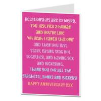 Funny Anniversary Card Wedding Relationship Husband Wife 1st 2nd 5th 10th