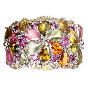 Unheated Pear Tourmaline Sapphire Diamond Cut Gems 925 Sterling Silver Ring 7.5