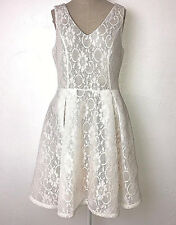 Soprano womens jrs L white vneck sleeveless floral lace pleated fit flare dress