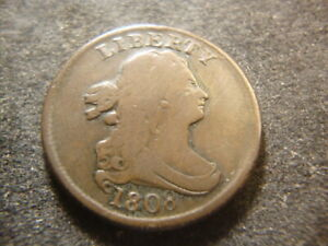 1808 VG F  Draped Bust Half Cent Choice 180' Rotated Reverse GSX