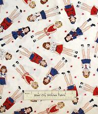 Patriotic Nautical Sailor Girl Cotton Fabric Timeless Treasures C9252 RETIRED Yd
