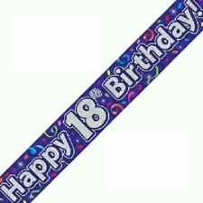 Happy 18th Birthday Streamers Banner 270 Cm Repeats 3 Times Holographic Purple
