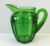 "EAPG Emerald Green 7¾"" Panel Glass Pitcher arches gold beaded rim hexagon base"