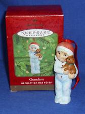 Hallmark Ornament Grandson 2000 Boy in Pajamas with Puppy Dog Porcelain NIB